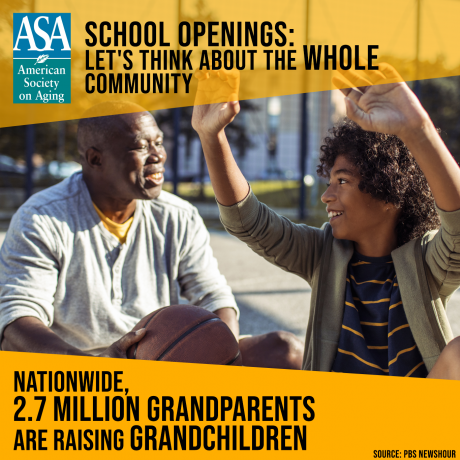Image of grandfather playing basketball with grandson overlay text reads: School Openings: Let's think about the whole community. Nationwide, 2.7 million grandparents are raising grandchildren