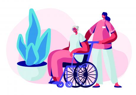 Illustration of a direct care working and older adult using a wheelchair